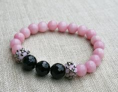 pink bracelet gemstone bracelet jade bracelet by koralikowyraj