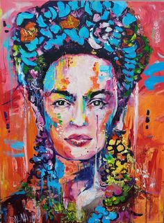 frida kahlo paintings Frida Khalo portrait painting Frida art in orange red color Frida Kahlo Artwork, Frida Paintings, Frida Kahlo Portraits, Frida Art, Red Paint Colors, Red Color, Orange Color, Frida E Diego, Tableaux Vivants