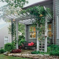 The pergola kits are the easiest and quickest way to build a garden pergola. There are lots of do it yourself pergola kits available to you so that anyone could easily put them together to construct a new structure at their backyard. Diy Pergola, Small Pergola, Pergola Attached To House, Pergola With Roof, Wooden Pergola, Outdoor Pergola, Pergola Shade, Pergola Plans, Pergola Ideas