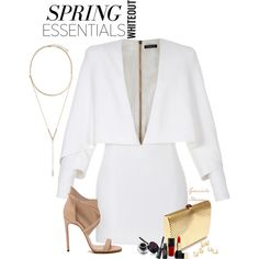 Simply White by grachy on Polyvore featuring Balmain, BCBGeneration, Jeweliq, Guerlain, Casadei and springwhiteout