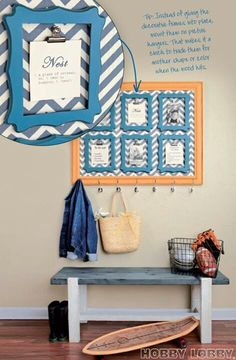 Hobby lobby....frames within a frame bulletin/display command center accented in blue chevron.