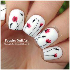 Poppies Nail Art by IG @ane_li inspired by fellow IG #lieve91 | #sharingtheloveforaneli RIP Ane Li