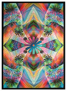 """Haight Fantasy I"" by Gloria Hansen (2003).  16"" x 22""  In my art quilt collection.  Gloria is the inimicable queen of computer-generated images embellished with spectacular quilting!"