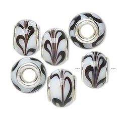 Bead, Dione™, lampworked glass with silver-finished brass grommets, opaque white and brown swirls, 14x9mm rondelle with swirls and 4.5-5mm hole. Sold per pkg of 6. $4.80