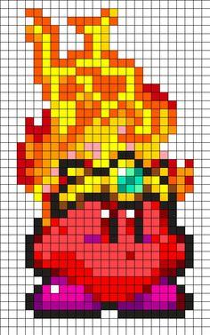 Fire Kirby Perler Bead Pattern