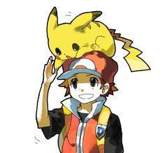 Pikachu, Red (Pokémon) (by ベルちぁん, drawr)