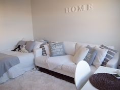 my home, white,grey, sofa, pillows,bed