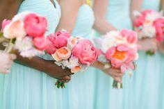 Photography: Ruth Eileen Photography - rutheileenphotography.com Bridesmaids Dresses: Donna Morgan - donna-morgan.com Floral Design: Sweet Annie Floral Design - http://www.stylemepretty.com/portfolio/sweet-annie-floral-design Read More on SMP: http://www.stylemepretty.com/2014/10/08/nautical-coral-mint-cape-cod-wedding/