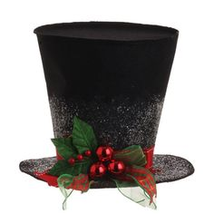 """RAZ Holly Top Hat Christmas Decoration  Black, Red, Green Made of Polyester Measures 9"""" in ht and approximately 12"""" in width (measured at the brim) For Decorative Use Only Artist: Carol King And Paula Buttel RAZ Exclusive Addidtional photos for decorating ideas, other items not included.  Whimsical black top hat decorated with red and green ribbon and red balls. Great for tabletop decorations and centerpieces. Can be filled with small arrangements or treats (using a protective"""