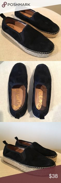 [Sam Edelman] Black Suede Slip On Sneakers Adorable Sam Edelman suede slip ons in black! Featuring a woven base. Worn with very minimal marks (see last photo - small light scuff on top of left shoe). Sam Edelman Shoes Sneakers
