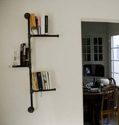 Industrial and innovative shelves made from metal piping.