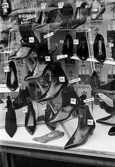 Window display of Beatle Boots Cuban Heel Boots, High Heel Boots, Shoe Boots, Beatle Boots, Evolution Of Fashion, Recycled Fashion, Weird Fashion, Shoe Shop, Vintage Shoes