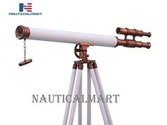 "Vintage Floor Standing Brass Telescope Harbor Master Retro Maritime Nickel 65/"""