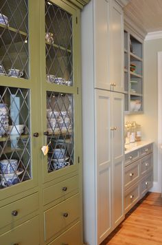 Wall Paint:  Hazy Skies Benjamin Moore  Ceiling Paint:  Sea Salt  Sherwin Williams (this color looks more blue in my master but here it looks more gray)  Gray Cabinets:  Fieldstone by Benjamin Moore  Green Hutch:  Great Barrington Green by Benjamin Moore