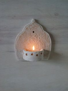 Moroccan style ceramic wall sconce, small tea light holder for bathroom veranda or courtyard boho housewarming gift by Louise Fulton Studio - Diy Gifts For Brothers Ideen Clay Projects, Clay Crafts, Style Marocain, Small Tea, Boho Bathroom, Bathroom Lighting, Moroccan Bathroom, Pottery Designs, Moroccan Style