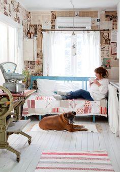sohva, valaistus, väritys