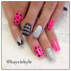 #pink #black #pokadots #dots inspired by #cynfulnails @cynfulnails - #nails #nailart #nailporn #naildesigns #instanails