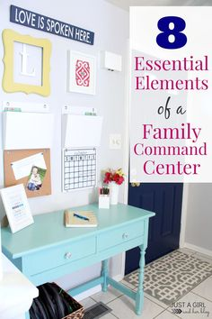 A super-organized family command center with a list of great things to include when you're trying to get organized! | JustAGirlAndHerBlog.com