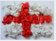 Make St George's Day Flag Collage - you just need red tissue, white tissue and PVA - all available at www.economyofbrighton.co.uk.