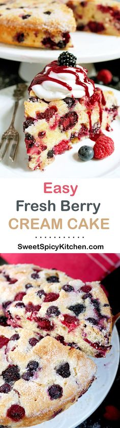 Fresh berry cake with a fresh berry dressing - sounds delicious. Good cakes season continues. Easy Fresh Berry Cream Cake is one of them ♥