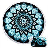 $23.99--Beach Towel Ricdecor Indian Mandala Microfiber Large Round Beach Blanket with Tassels Ultra Soft Super Water Absorbent Multi-Purpose Towel 59 inch across (NO.19)