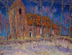 Kerkje te Oostum, schilderij van Johan Dijkstra