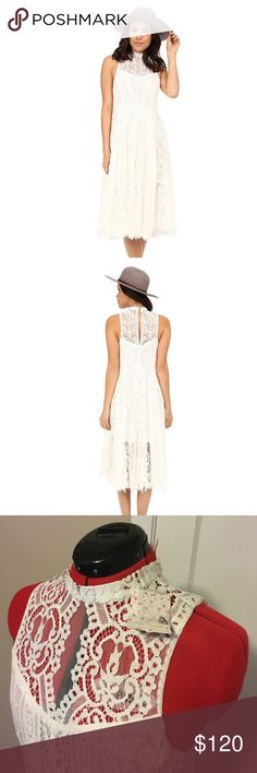 NWT Free People Angel Rays Midi Dress NWT ivory lace midi dress, size medium 8-10. For size 8, it will be a slightly more relaxed fit Free People Dresses Midi