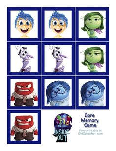 INSIDE OUT Core Memory Game (Free Printable) #InsideOutEmotions #ad