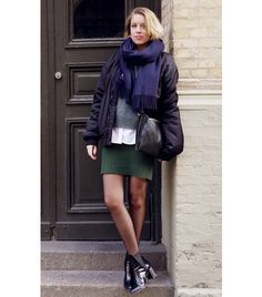 @Who What Wear - Hanna Stefansson of Metro Mode  Puffer Jacket + Scarf + Sweater + Button-Down Shirt