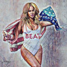 Beyonce Sketch Drawing Illustration Wall Art PRINT Portrait