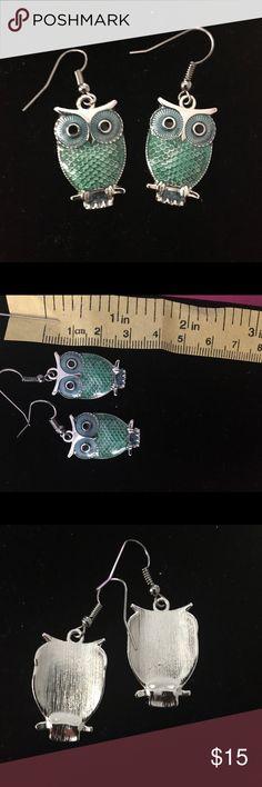 Green Owl fishhook earrings Green Owl fishhook earrings Jewelry Earrings