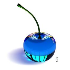 More Cherries Glass Cherries - Full Color Blue Cherry, Glas Art, Art Of Glass, Glass Artwork, Himmelblau, Glass Paperweights, Love Blue, Blue Aesthetic, Something Blue