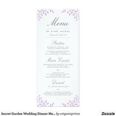 Secret Garden Wedding Dinner Menu - Orchid 4x9.25 Paper Invitation Card