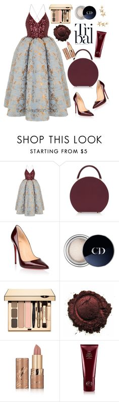 """""""Rasario"""" by thestyleartisan ❤ liked on Polyvore featuring Rasario, BUwood, Christian Louboutin, Christian Dior, tarte, Oribe, Kenneth Jay Lane and partydress"""