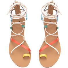 Multi-colored Sandals $34.99 ($35) ❤ liked on Polyvore featuring shoes, sandals, flats, multicolor shoes, synthetic leather shoes, ankle high sandals, long shoes and colorful sandals