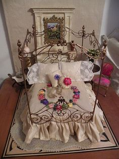 "Artisan Made Wrought Iron Fairy Garden Canopy Bed for Dollhouse, Half Scale, Barbie, 18"" Size Dolls on Etsy, $83.33 CAD"
