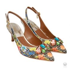 Ladies genuine leather pointed sling back heels, Floral Print, Embellished with pink, blue, green and clear stones by FeriStore on Etsy Luxury Shoes, Luxury Jewelry, Runway Shoes, Floral Heels, Selling On Pinterest, Gifts For Girls, Cow Leather, Designer Shoes, Shoes Heels