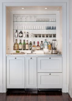 Modern meets traditional in Pacific Heights mini bar Transitional Dining Room, Interior, Modern Meets Traditional, Wet Bar Designs, Closet Bar, Home Decor, Bars For Home, Mini Bar, Bar Design