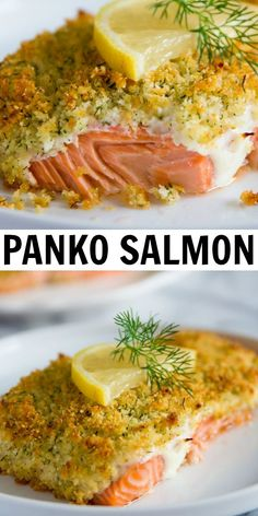 Salmon fillets that are coated in a lemon garlic mayo spread topped with a crispy panko-parmesan crust. The best salmon recipe that is easy and loved by everyone! #simplyhomecooked #salmon… More