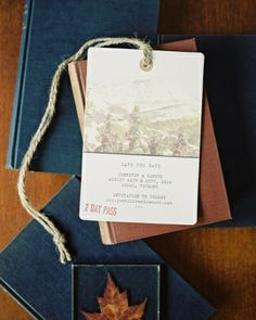 These save-the-dates by Tiny Pine Press were designed to resemble ski passes