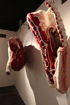 Made from fabric and yarn. Espaces_Tendances-Maison_Objets-2013-Nourritures_premieres-Elizabeth_Leriche-Tamara_Kostianovsky-Boucherie-2
