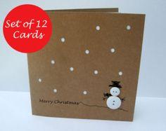 Set di 12 cartoline di Natale - pulsante del pupazzo di neve - carta Handmade Greeting Card - Holiday Card - cartolina di Natale confezione
