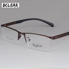 Bclear New Arrival Fashion Glasses Frame Men Eyeglasses Frame Vintage Half Rim Clear Lens Glasses Optical Spectacle Frame - - Mirrored Sunglasses, Mens Sunglasses, Mens Glasses Frames, Men Eyeglasses, Optical Frames, Prescription Lenses, Eyewear, Vintage, Accessories