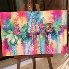 So happy looking at these gorgeous colours ? Abstract Art Painting, Art Painting, Abstract Painting, Painting, Intuitive Painting, Abstract Flowers, Canvas Painting, Beautiful Art, Flower Canvas