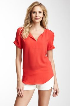 Pleated Short Sleeve Blouse by Daniel Rainn on @HauteLook