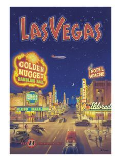 Las Vegas, Nevada Print by Kerne Erickson Disneyland, Voyage Usa, Cities, Poster S, Las Vegas Nevada, Air France, Vintage Travel Posters, Traveling By Yourself, Road Trip