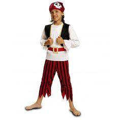 Disfraz de Pirata Calavera  Disfraces de piratas Infantil  Original Disfraz de Pirata para niño, compuesto por pañuelo, camisa con chaleco, cinturón y pantalón. Ideal para tu fiesta de disfraces de carnaval o para la fiesta de disfraces del colegio. 11.50€