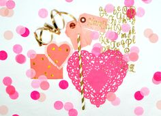 DIY Valentine with pink heart doily and gold striped paper straw crafting tutorial from Modern Frill