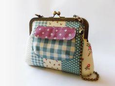 Shoulder bag Cotton Linen shoulder bag Kisslock bag  by DooDesign, $55.90