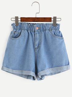 Retro Oversized High Waist Denim Shorts with Waistband | Chicnova ...